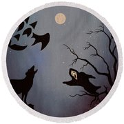 Halloween Night Party Original Painting Placemat Doormat Round Beach Towel