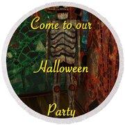 Halloween Party Invitation - Skeleton Round Beach Towel