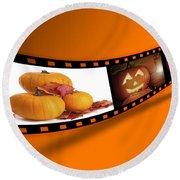 Halloween Pumpkin Film Strip Round Beach Towel by Amanda Elwell