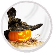 Halloween Pumpkin With Witches Hat Round Beach Towel