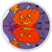 Halloween Reflections Round Beach Towel
