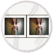 Halloween Self Portrait - Gently Cross Your Eyes And Focus On The Middle Image Round Beach Towel