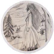 Halloween Witch Walk Round Beach Towel