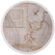 Hand Drawn Map By G. Washington Round Beach Towel
