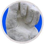 Hand In Snow Round Beach Towel