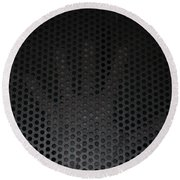 Hand On Metal Grating Round Beach Towel