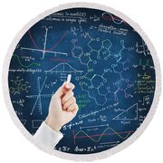 Hand Writing Science Formulas Round Beach Towel