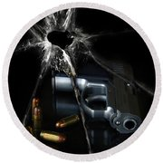 Handgun Bullets And Bullet Hole Round Beach Towel