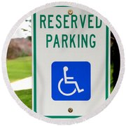 Handicapped Parking Sign Round Beach Towel by Photo Researchers