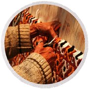 Hands Of The Carpet Weaver Round Beach Towel