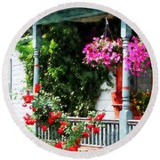 Hanging Baskets And Climbing Roses Round Beach Towel