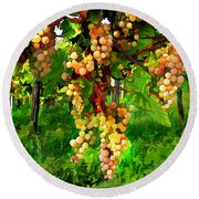 Hanging Grapes On The Vine Round Beach Towel by Elaine Plesser