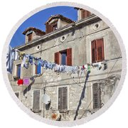 Hanging Out To Dry In Rovinj Round Beach Towel