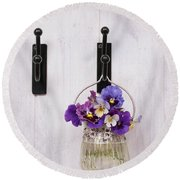 Hanging Pansies Round Beach Towel
