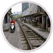 Hanoi Train Tracks Round Beach Towel