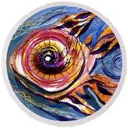 Happified Swirl Fish Round Beach Towel