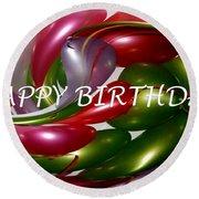 Happy Birthday - Balloons Round Beach Towel by Kaye Menner