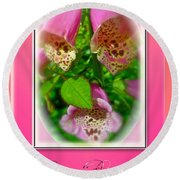Happy Birthday Card - Foxgloves Round Beach Towel