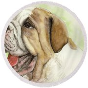 Happy Bulldog Round Beach Towel