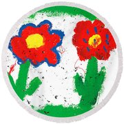 Happy Colorful Flowers Round Beach Towel