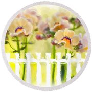 Happy Flower Faces Round Beach Towel