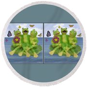 Happy Frogs - Gently Cross Your Eyes And Focus On The Middle Image Round Beach Towel