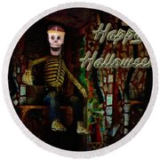 Happy Halloween Skeleton Greeting Card Round Beach Towel