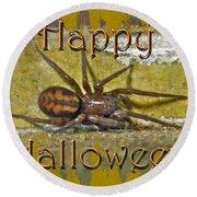 Happy Halloween Spider Greeting Card Round Beach Towel