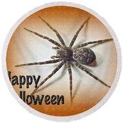 Happy Halloween Spider Greeting Card - Dolomedes Tenebrosus Round Beach Towel