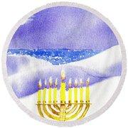 Happy Hanukkah Round Beach Towel