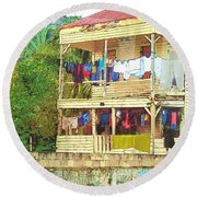 Happy Hour Washday Belize Round Beach Towel