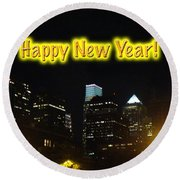 Happy New Year Greeting Card - Philadelphia At Night Round Beach Towel