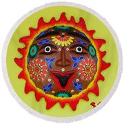 Happy Sol Face Round Beach Towel