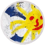 Happy Sun Face Round Beach Towel