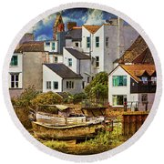 Harbor Houses Round Beach Towel