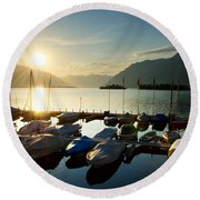 Harbor In Sunrise Round Beach Towel