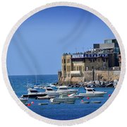 Harbor - North Coast Of Spain Round Beach Towel