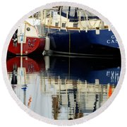 Harbor Reflections  Round Beach Towel by Bob Christopher