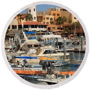 Harbor Waterfront In Cabo San Lucas Round Beach Towel
