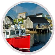 Harbour Mist In Peggy's Cove No 103 Round Beach Towel