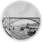 Harlem River Speedway Scene Beneath The George Washington Bridge Round Beach Towel