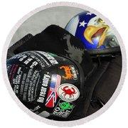 Harley Helmets Round Beach Towel