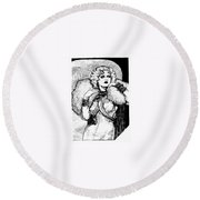 Harlow Black And White Round Beach Towel