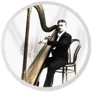 Harp Player Round Beach Towel