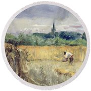 Harvest Field At Stratford Upon Avon Round Beach Towel
