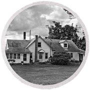 Harvest Time In Pennsylvania Monochrome Round Beach Towel