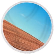 Harvested Crop Lines And Clear Skies Round Beach Towel