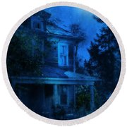 Haunted House Full Moon Round Beach Towel by Jill Battaglia