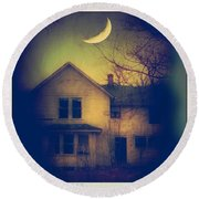Haunted House Round Beach Towel by Jill Battaglia