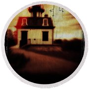 Haunted Lighthouse Round Beach Towel
